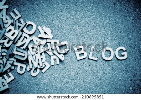 wooden letters forming the word BLOG - stock photo