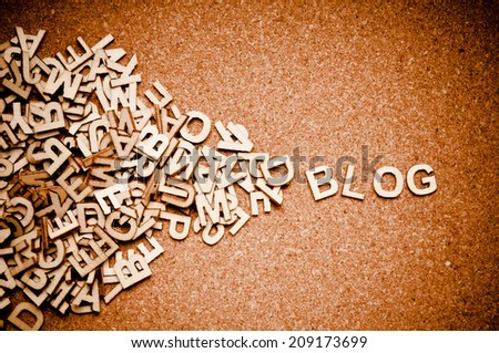 wooden letters forming word BLOG - stock photo