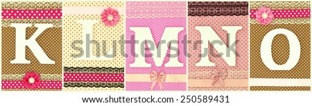 Wooden letters K L M N O on polka dots background - stock photo