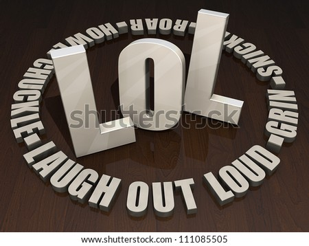 """Wooden letters """"LOL"""" on a dark wood table top. - stock photo"""