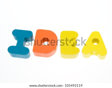 """Wooden letters spelling the word  """"idea""""  on white background. - stock photo"""