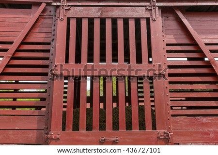 Wooden Livestock Railroad Box Car Door