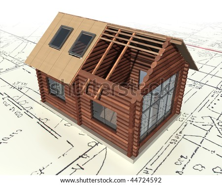 Wooden log house on the master plan. 3d model isolated on a white background. - stock photo