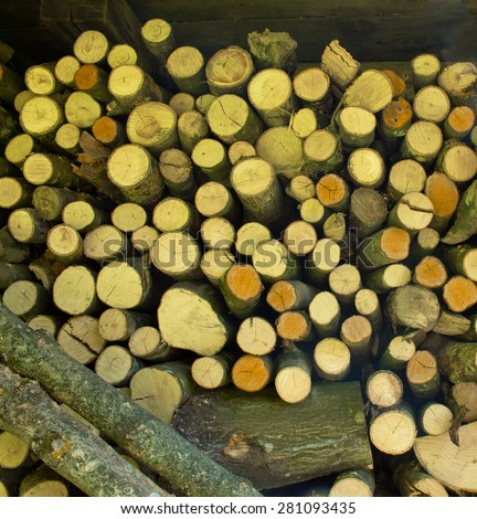 Wooden log wall texture background