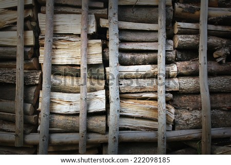 wooden logs background - stock photo