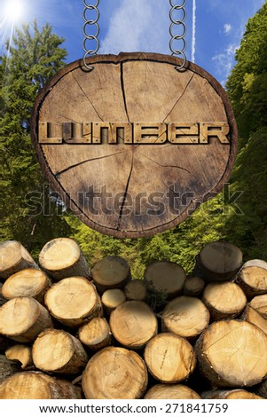 Wooden Logs - Forest and Lumber Sign. Trunks of trees cut and stacked and wooden sign, section of tree trunk with text lumber, hanging with metal chain. A green forest in the background with sun rays - stock photo