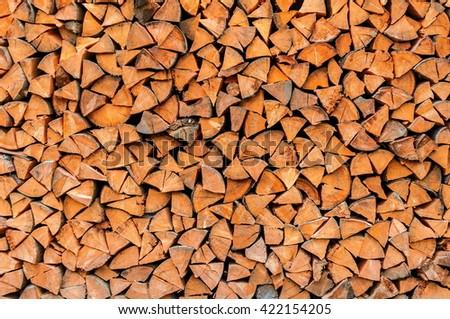 Wooden logs, sawn. - stock photo