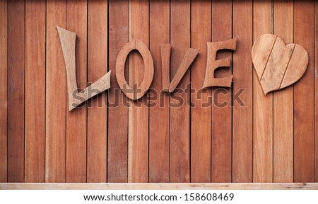 Wooden LOVE letter and heart shape