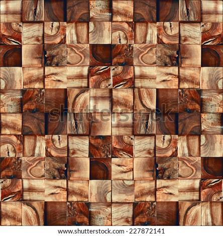 Wooden mahogany blocks - seamless background - abstract decorative pattern - seamless wallpaper - paneling pattern - decorative textures - wood texture - wood wall - wooden surface - natural textures - stock photo