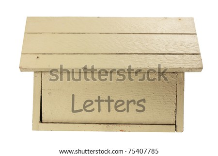 Wooden Mail Box on White Background - stock photo