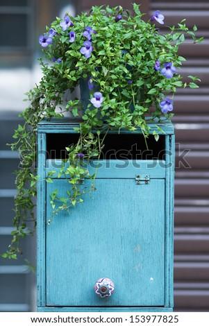 wooden mailbox - stock photo