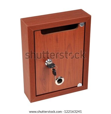 Wooden Mailbox with Keys - stock photo