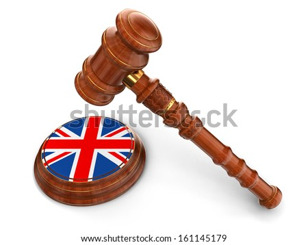 Wooden Mallet and British flag (clipping path included) - stock photo