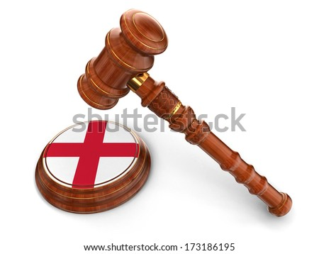 Wooden Mallet and English flag (clipping path included) - stock photo