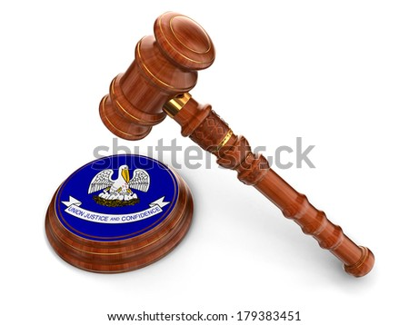 Wooden Mallet and flag Of Louisiana (clipping path included) - stock photo