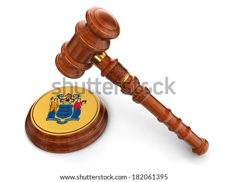Wooden Mallet and flag Of New Jersey (clipping path included) - stock photo