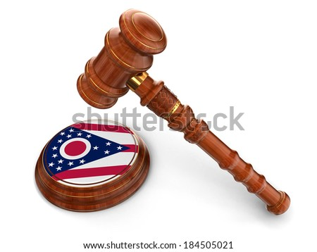 Wooden Mallet and flag Of Ohio (clipping path included) - stock photo