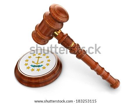 Wooden Mallet and flag Of Rhode Island (clipping path included) - stock photo