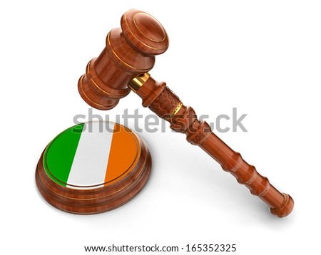 Wooden Mallet and Irish flag (clipping path included) - stock photo