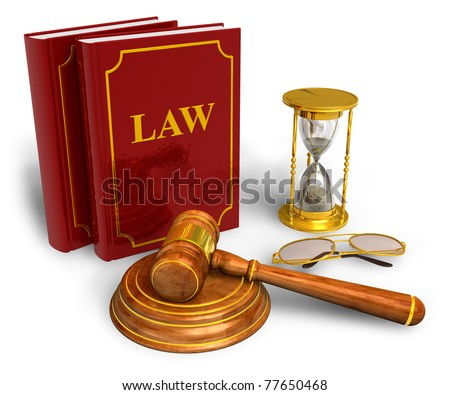 Wooden mallet, hourglasses and code of laws isolated on white background - stock photo