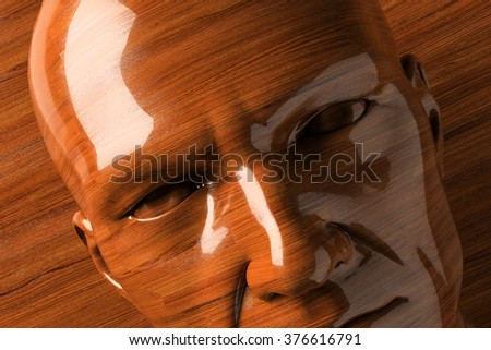 Wooden man concept: carpeting, polishing, maintenance, cleaning - stock photo