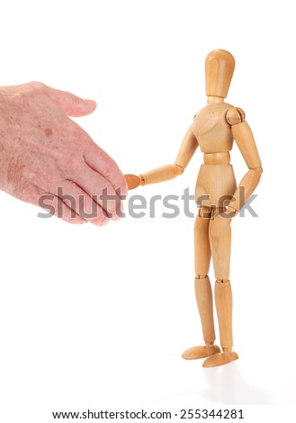 Wooden man figure shaking hands, isolated on white background	 - stock photo