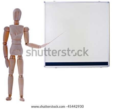 wooden man pointing to a blackboard isolated on a white background - stock photo