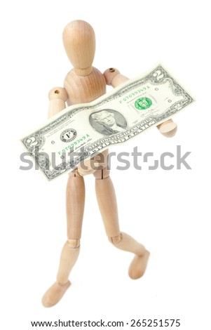 Wooden man toy and dollars