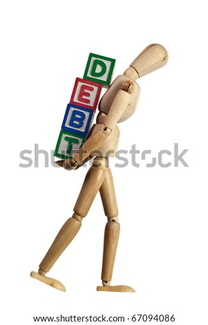 Wooden mannequin carrying blocks with the word DEBT on its back isolated on white background - stock photo