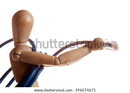 wooden mannequin doll model from Ikea gestalta. Keeps hands LAN cable connection. Connect your Internet communication society and globalization. Us Toy children - stock photo