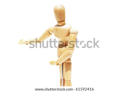 Wooden mannequin human model scale isolated