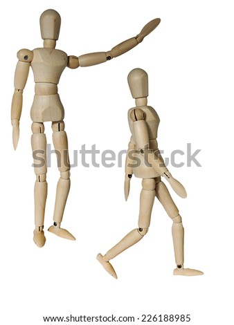 Wooden mannequin in two different pose of walking and raising arm isolated on white - stock photo