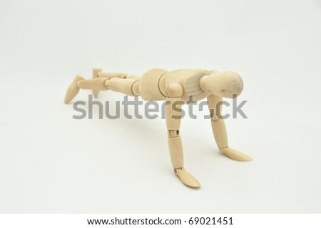 Wooden Mannequin on white background - stock photo