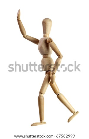 Wooden mannequin running after someone isolated on white background