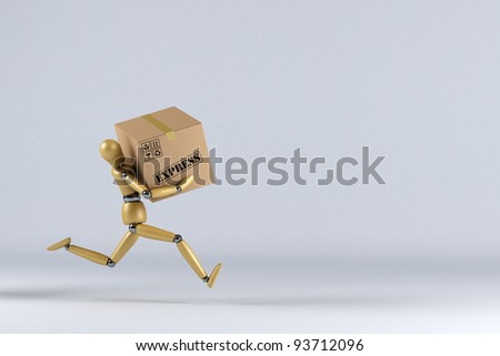 Wooden mannequin rushing an express delivery package to the addressee - stock photo