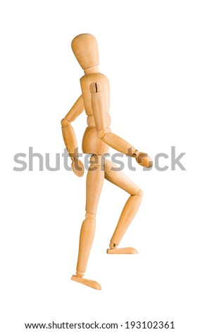 Wooden mannequin walking up invisible stairs isolated on white. - stock photo