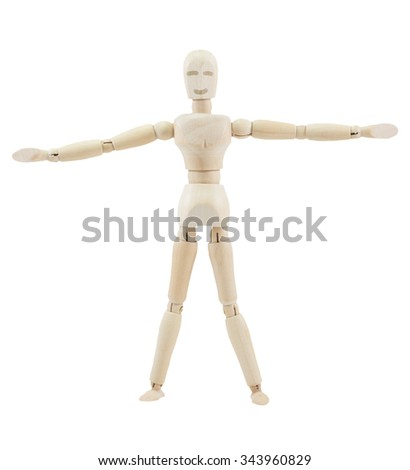 Wooden mannequin with smile on isolate white background. extend the arms.