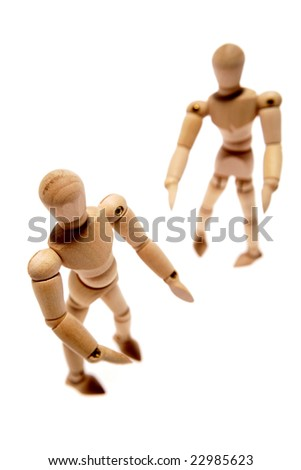 Wooden mannequins isolated on white background