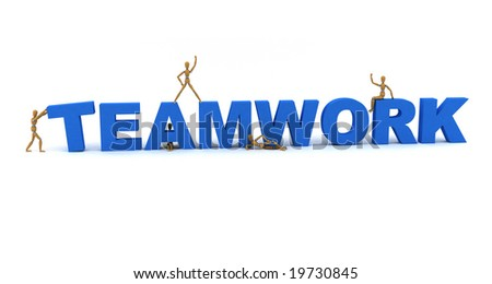 Wooden mannequins posing in front of the word Teamwork - stock photo
