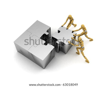 Wooden mannequins pushing puzzle piece into the right place - stock photo