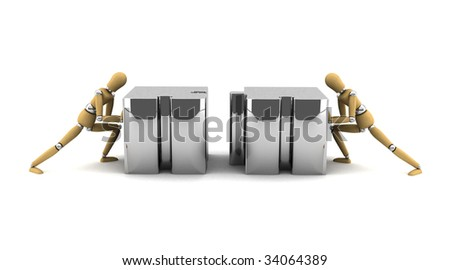 Wooden mannequins pushing puzzle pieces into the right place - stock photo