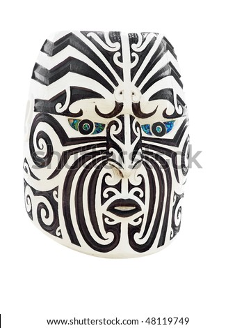 Wooden Maori Face with Traditional Moko or Tattoo - stock photo