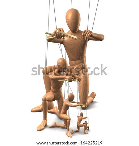 Wooden marionettes, puppets on strings. One puppet holding and playing the next dependently. 3d rendering isolated on white background - stock photo