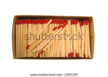Wooden Matches in cardboard box - stock photo