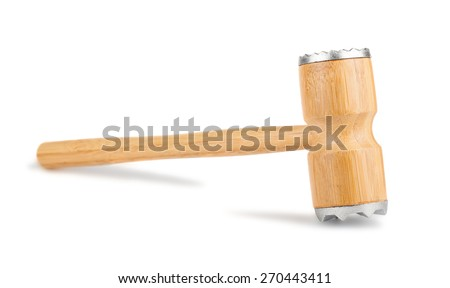 Wooden meat hammer isolated on a white background.