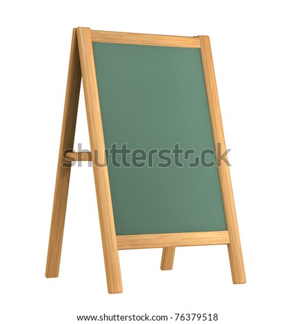 wooden menu board  isolated on white - stock photo