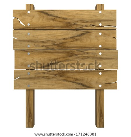 Wooden message board. isolated on white background. 3d - stock photo