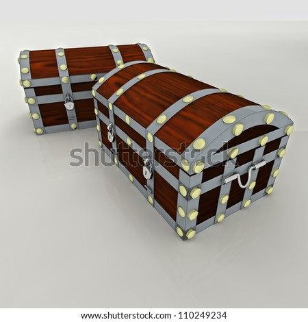 wooden metal security concept chest with gold and money treasure heritage isolated render illustration