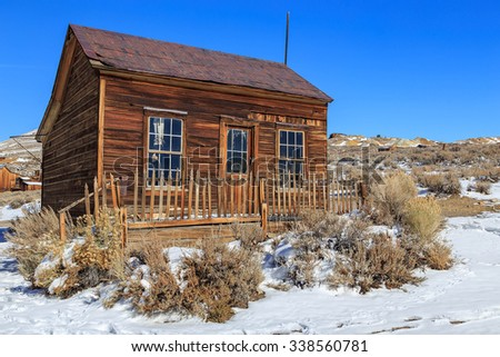 Wooden miners cabin in Bodie, California, USA. - stock photo