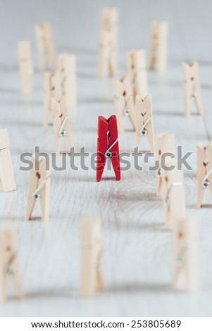 Wooden mini clothes pins - stock photo
